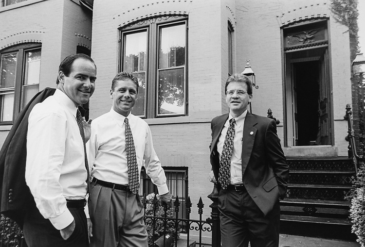 Roommates and GOP freshman, Rep. Zach Wamp, R-Tenn., Rep. Steve Largent, R-Okla., and Rep. Tom Coburn, R-Okla., outside their rented house, in September 1995. (Photo by Maureen Keating/CQ Roll Call via Getty Images)