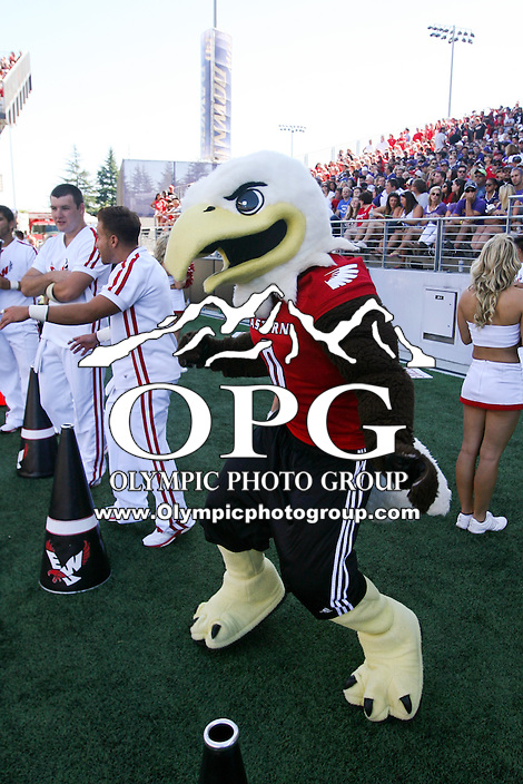 SEP 06, 2014: Eastern Washington mascot Swoop entertained fans during the game against Washington.  Washington defeated Eastern Washington 59-52 in Seattle Washington.