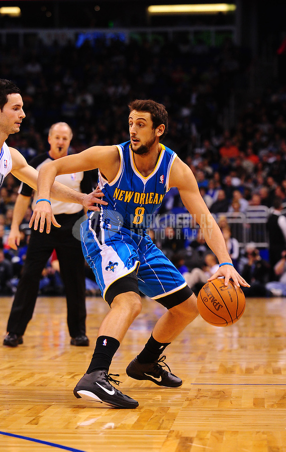 Feb. 11, 2011; Orlando, FL, USA; New Orleans Hornets guard Marco Belinelli during game against the Orlando Magic at the Amway Center. The Hornets defeated the Magic 99-93. Mandatory Credit: Mark J. Rebilas-USA TODAY Sports