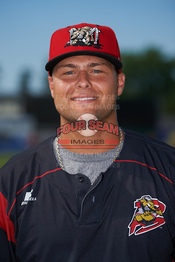 Batavia Muckdogs pitcher Vincenzo Aiello (38) poses for a photo before a game against the Auburn Doubledays on July 6, 2017 at Dwyer Stadium in Batavia, New York.  Auburn defeated Batavia 4-3.  (Mike Janes/Four Seam Images)