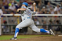 UCLA Bruin pitcher David Berg (26) delivers a pitch to the plate during Game 4 of the 2013 Men's College World Series against the LSU Tigers on June 16, 2013 at TD Ameritrade Park in Omaha, Nebraska. UCLA defeated LSU 2-1. (Andrew Woolley/Four Seam Images)