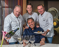 Rotterdam, Netherlands, Januari 17, 2017, Restaurant Parkheuvel, Chefs cooking at the  ABNAMROWTT 2018, L.t.r.: Mario Ridder Restaurant Joelia * , Jos Grootscholten restaurant het Perseel * , Eric van Loo restaurant Parkheuvel ** , and sitting Fred Mustert restaurant Fred **<br /> Photo: Tennisimages/Henk Koster