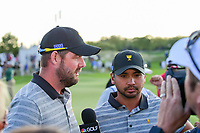 Marc Leishman (AUS) and Jason Day (AUS) are interviewed  after losing their match during round 2 Four-Ball of the 2017 President's Cup, Liberty National Golf Club, Jersey City, New Jersey, USA. 9/29/2017.<br /> Picture: Golffile | Ken Murray<br /> <br /> All photo usage must carry mandatory copyright credit (&copy; Golffile | Ken Murray)