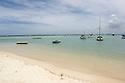 Boat anchored in Flic en Flac, Mauritius.