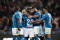 Calcio, Serie A: Roma, stadio Olimpico, 14 ottobre 2017.<br /> Napoli's players celebrate after winning 1-0 the Italian Serie A football match between Roma and Napoli at Rome's Olympic stadium, October14, 2017.<br /> UPDATE IMAGES PRESS/Isabella Bonotto
