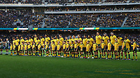 The Australian team line-up for the national anthems during the Rugby Championship match between Australia and New Zealand at Optus Stadium in Perth, Australia on August 10, 2019 . Photo: Gary Day / Frozen In Motion