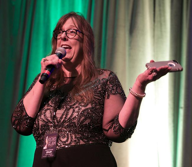 RGJ's Peggy Santoro speaks during Fantasies in Chocolate at the Grand Sierra Resort on Saturday night, November 17, 2018.