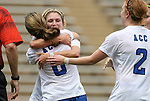 28 August 2009: Duke's Cody Newman (8) celebrates her goal with Elisabeth Redmond (behind) and Rebecca Allen (2). The Duke University Blue Devils lost 3-2 to the University of Central Florida Knights at Fetzer Field in Chapel Hill, North Carolina in an NCAA Division I Women's college soccer game.