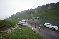Joaquim Rodriguez (ESP/Katusha) & Ilnur Zakarin (RUS/Katusha) over the top of the Col de Joux Plane (HC/1691m/11.6km/8.5%) and starting their descent towards the finish in horrendous conditions<br /> <br /> Stage 20: Megève › Morzine (146.5km)<br /> 103rd Tour de France 2016