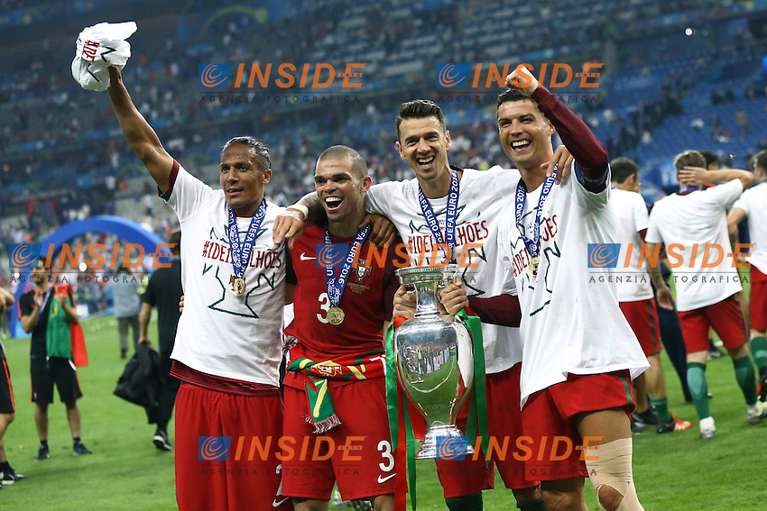 Esultanza fine partita Cristiano Ronaldo con la coppa celebration end of match cup<br /> Paris 10-07-2016 Stade de France Football Euro2016 Portugal - France / Portogallo - Francia Finale/Finals<br /> Foto Matteo Ciambelli / Insidefoto