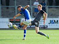 Carlisle United's Callum O'Hare under pressure from Lincoln City's Cian Bolger<br /> <br /> Photographer Chris Vaughan/CameraSport<br /> <br /> The EFL Sky Bet League Two - Carlisle United v Lincoln City - Friday 19th April 2019 - Brunton Park - Carlisle<br /> <br /> World Copyright © 2019 CameraSport. All rights reserved. 43 Linden Ave. Countesthorpe. Leicester. England. LE8 5PG - Tel: +44 (0) 116 277 4147 - admin@camerasport.com - www.camerasport.com