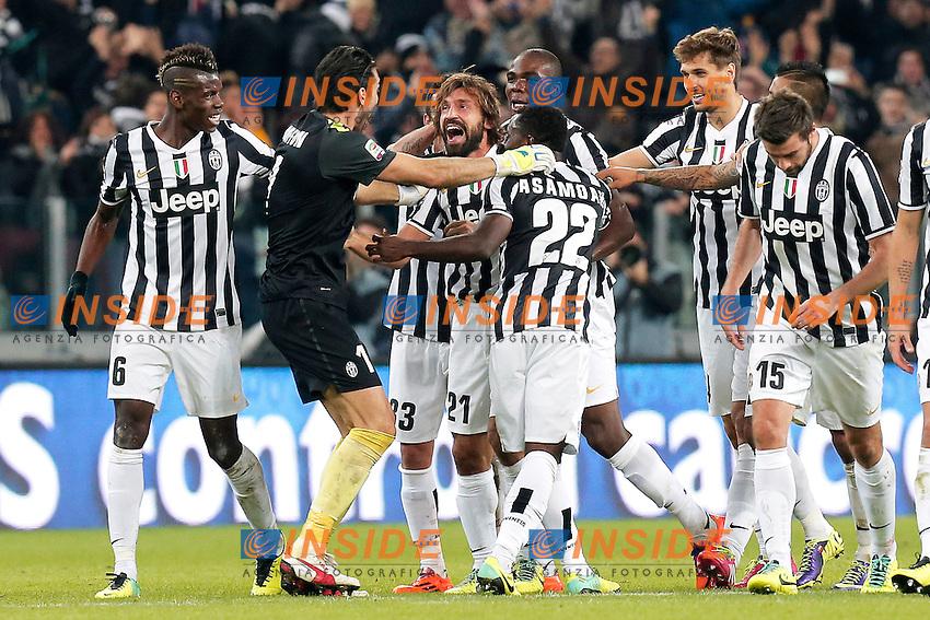Esultanza dopo il gol di Andrea Pirlo Juventus, Goal Celebration, Torino 10-11-2013, Juventus Stadium, Football Calcio 2013/2014 Serie A, Juventus - Napoli, Foto Marco Bertorello/Insidefoto