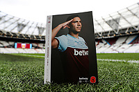 2nd November 2019; London Stadium, London, England; English Premier League Football, West Ham United versus Newcastle United; Official match programme featuring Fabian Balbuena of West Ham United with a poppy on the front cover - Strictly Editorial Use Only. No use with unauthorized audio, video, data, fixture lists, club/league logos or 'live' services. Online in-match use limited to 120 images, no video emulation. No use in betting, games or single club/league/player publications