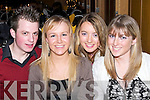 SMILES: Smiles all around by James O'Connor (Tralee), Miriam Dowling (Banna), Aine Quane and Siobhan Collins (Kilmoyley) at the Abbeydorney GAA Social at Ballyroe Heights Hotel, Tralee, on Saturday night..