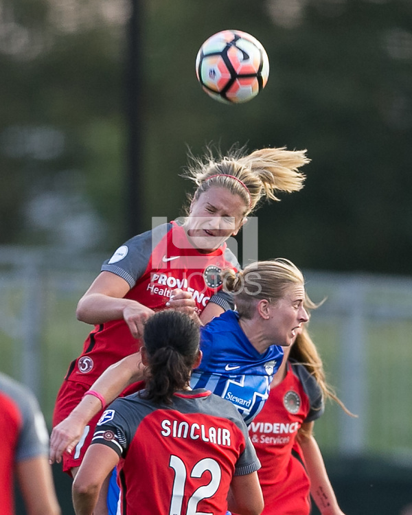 Allston, Massachusetts - September 10, 2017:  In a National Women's Soccer League (NWSL) match, Portland Thorns FC (red) defeated Boston Breakers (blue), 1-0, at Jordan Field.