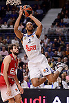 Real Madrid's Anthony Randolph and EA7 Emporio Armani Milan's Davide Pascolo during Turkish Airlines Euroleage match between Real Madrid and EA7 Emporio Armani Milan at Wizink Center in Madrid, Spain. January 27, 2017. (ALTERPHOTOS/BorjaB.Hojas)