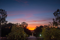 Sunset over the Academic Quad on Dec. 7, 2015.<br />