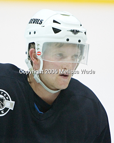 Paul Martin listens to the coach's instructions. The New Jersey Devils and prospects took part in their second official on-ice day of training camp on Saturday, September 16, 2006 at the Richard E. Codey Rink at South Mountain in West Orange, New Jersey.<br />