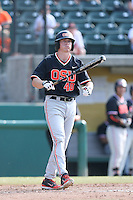 Jeff Hendrix #40 of the Oregon State Beavers bats against the Southern California Trojans at Dedeaux Field on May 23, 2014 in Los Angeles, California. Southern California defeated Oregon State, 4-2. (Larry Goren/Four Seam Images)