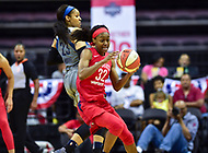 Washington, DC - May 27, 2018: Washington Mystics guard Shatori Walker-Kimbrough (32) steals a pass from Minnesota Lynx forward Maya Moore (23) during game between the Mystics and Lynx at the Capital One Arena in Washington, DC. (Photo by Phil Peters/Media Images International)