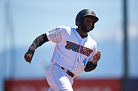 Inland Empire 66ers right fielder Torii Hunter, Jr. (4) hustles towards third base during a California League game against the Modesto Nuts on April 10, 2019 at San Manuel Stadium in San Bernardino, California. Inland Empire defeated Modesto 5-4 in 13 innings. (Zachary Lucy/Four Seam Images)