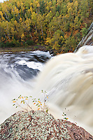 The High Falls of the Baptism River at Tettegouche State Park on Minnesota North Shore.