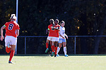 CARY, NC - NOVEMBER 19: Princeton's Mimi Asom celebrates her goal with Vanessa Gregoire (CAN) (4). The University of North Carolina Tar Heels hosted the Princeton University Tigers on November 19, 2017 at Koka Booth Stadium in Cary, NC in an NCAA Division I Women's Soccer Tournament Third Round game. Princeton won 2-1 in sudden death overtime.