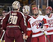 Thatcher Demko (BC - 30), Brian Billett (BC - 1), Matt Lane (BU - 21), Dalton MacAfee (BU - 23) - The Boston College Eagles defeated the Boston University Terriers 3-1 (EN) in their opening round game of the 2014 Beanpot on Monday, February 3, 2014, at TD Garden in Boston, Massachusetts.