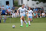 CARY, NC - AUGUST 18: North Carolina's Jessie Scarpa. The University of North Carolina Tar Heels hosted the Duke University Blue Devils on August 18, 2017, at Koka Booth Stadium in Cary, NC in a Division I college soccer game.