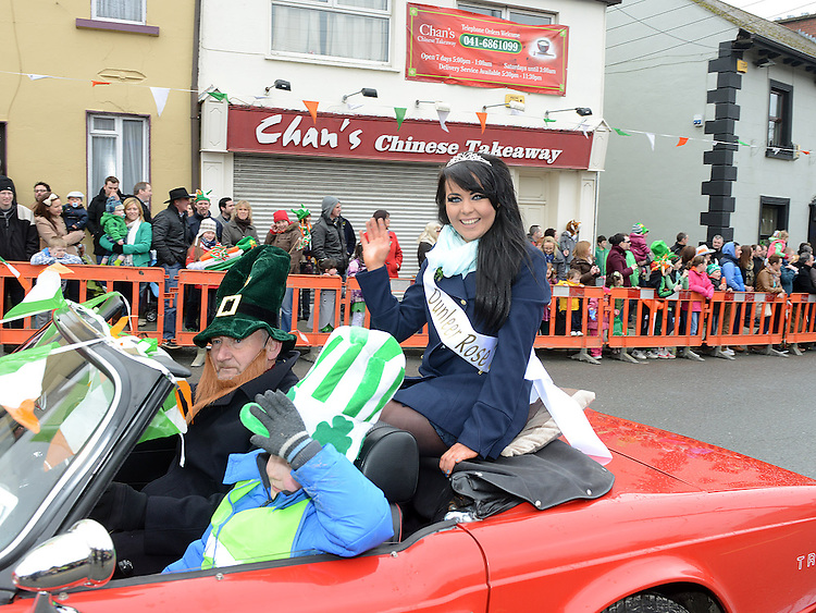 Dunleer Rose Megan Murphy Byrne was the Grand Marshal at the Dunleer St Patrick's day parade. Photo:Colin Bell/pressphotos.ie