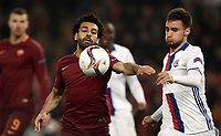 Football Soccer: Europa League Round of 16 second leg, Roma-Lyon, stadio Olimpico, Roma, Italy, March 16,  2017. <br /> Roma's Mohamed Salah (l) in action with Lyon's Emanuel Mammana (r) during the Europe League football soccer match between Roma and Lyon at the Olympique stadium, March 16,  2017. <br /> Despite losing 2-1, Lyon reach the quarter finals for 5-4 aggregate win.<br /> UPDATE IMAGES PRESS/Isabella Bonotto