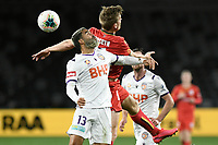 30th July 2020; Bankwest Stadium, Parramatta, New South Wales, Australia; A League Football, Adelaide United versus Perth Glory; Osama Malik of Perth Glory challenges Kristian Opseth of Adelaide United for the ball