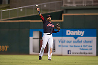 AZL Indians 1 right fielder Johnathan Rodriguez (30) warms up between innings of an Arizona League game against the AZL White Sox at Goodyear Ballpark on June 20, 2018 in Goodyear, Arizona. AZL Indians 1 defeated AZL White Sox 8-7. (Zachary Lucy/Four Seam Images)