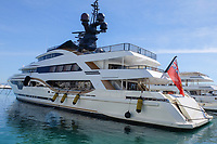 Motor yacht, Taira, berthed Puerto Banus, Malaga Province, Spain, October, 2018, 201810123251<br />