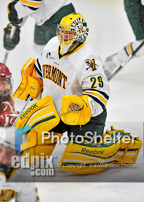 10 February 2012: University of Vermont Catamount goaltender Rob Madore, a Senior from Pittsburgh, PA, in action against the Boston College Eagles at Gutterson Fieldhouse in Burlington, Vermont. The Eagles defeated the Catamounts 6-1 in their Hockey East matchup. Mandatory Credit: Ed Wolfstein Photo