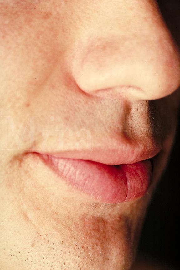 Man's face, nose & mouth, close-up. Man. Douglaston NY.