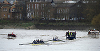 London. United Kingdom,  approaching the Mortlake Brewery, during the 2017. Oxford University, Annual Trial Eights, raced over the Championship Course, Putney to Mortlake. River Thames, <br /> <br /> Wednesday  06/12/2017<br /> <br /> [Mandatory Credit:Peter SPURRIER Intersport Images]<br /> <br /> OUBC Crew Names. <br /> STABLE White Shirts.<br /> Bow. Jonathan Olandi<br /> 2. Charles Buchanan<br /> 3. Will Cahill<br /> 4. Alexander Wythe<br /> 5. William Geffen<br /> 6. Anders Weiss<br /> 7. Iain Mandale<br /> Stroke. Vassilis Ragoussis<br /> Cox. Zachary Thomas Johnson<br /> <br /> STRONG Black Shirts<br /> Bow. Luke Robinson<br /> 2. Angus Forbes<br /> 3. Nicholas Elkington<br /> 4. Benedict Aldous<br /> 5. Tobias Schroder<br /> 6. Joshua Bugajski<br /> 7. Claas Mertens<br /> Stroke. Felix Drinkall<br /> Cox. Anna Carbery
