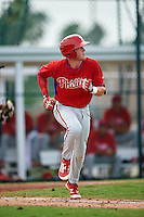 GCL Phillies shortstop Cole Stobbe (7) runs to first during a game against the GCL Pirates on August 6, 2016 at Pirate City in Bradenton, Florida.  GCL Phillies defeated the GCL Pirates 4-1.  (Mike Janes/Four Seam Images)