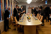 Oslo, Norway - December 10, 2009 -- United States President Barack Obama participates in a bilateral meeting with Norwegian Prime Minister Jens Stoltenberg in Oslo, Norway, Thursday, December 10, 2009. .Mandatory Credit: Pete Souza - White House via CNP