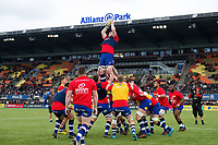 The Bath Rugby team huddle together during the pre-match warm-up. Aviva Premiership match, between Saracens and Bath Rugby on April 15, 2018 at Allianz Park in London, England. Photo by: Patrick Khachfe / Onside Images