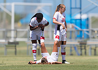 Bradenton, FL - Sunday, June 12, 2018: Wayny Balata, Jordyn Huitema, Julianne Vallerand prior to a U-17 Women's Championship 3rd place match between Canada and Haiti at IMG Academy. Canada defeated Haiti 2-1.