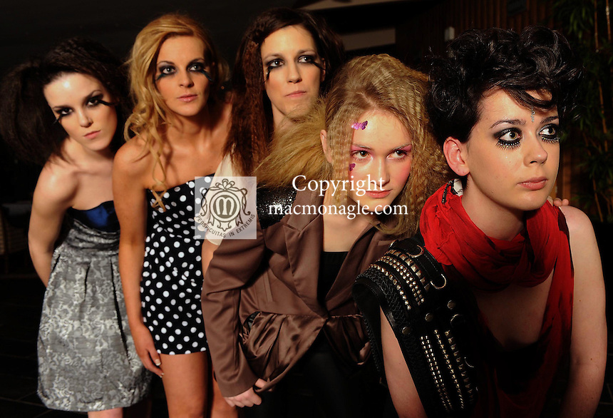 At the Haiti Charity Fashion Show and Ball in the Malton Hotel Killarney on Saturday night were from left, Petriona Lyons, Marion O'Sullivan, Muirese Lyons, Fiona Griffin  and Grace Maddden, models  from Upfront Model Management . The event was organised by The Acappella Agency and O'Connor Pyne & Co. Picture: Eamonn Keogh (MacMonagle, Killarney