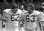 San Francisco 49ers training camp August 3, 1982 at Sierra College, Rocklin, California.  San Francisco 49ers linebacker Walt Dowing (62) and  linebacker Terry Beeson (63).