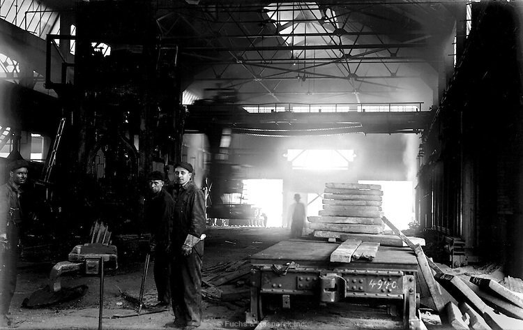 The interior of the Otis Steel mill circa 1915, in Cleveland, Ohio.
