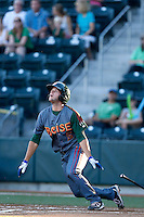 David Bote #5 of the Boise Hawks bats against the Eugene Emeralds at PK Park on July 25, 2013 in Eugene, Oregon. Eugene defeated Boise, 5-4. (Larry Goren/Four Seam Images)