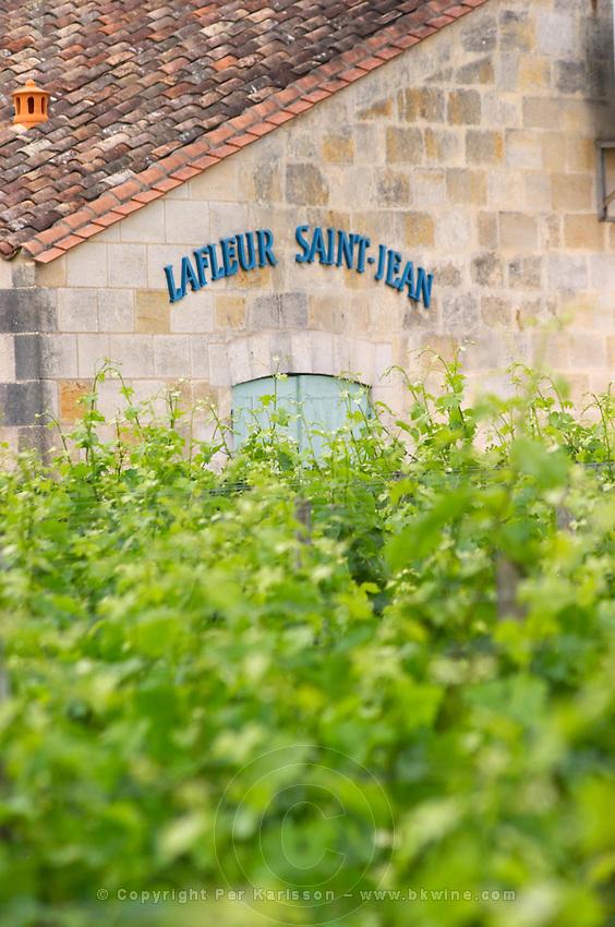 Chateau Lafleur Saint Jean seen across the vineyards Pomerol Bordeaux Gironde Aquitaine France