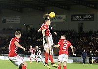 Cody Cooke heading the ball in the St Mirren v Hamilton Academical Scottish Professional Football League Ladbrokes Premiership match played at the Simple Digital Arena, Paisley on 1.12.18.