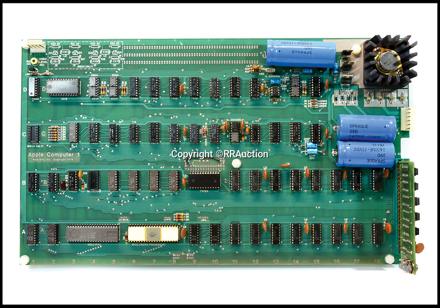 BNPS.co.uk (01202 558833)<br /> Pic : RRAuction/BNPS<br /> <br /> The circuit board from an early Apple-1 computer built by Steve Jobs, on sale for £230,000.<br /> <br /> An extremely rare Apple-1 computer which is in full working order 42 years after Steve Jobs built it in his garage has emerged for sale for £230,000. ($300,000)<br /> <br /> The collector's machine was one of 200 the late Apple founder and his associate Steve Wozniak designed, created and sold in 1976.<br /> <br /> There are believed to be about 60 Apple-1 computers in existence today, with only a handful still fully functioning.<br /> <br /> The groundbreaking computer that gave birth to the Apple empire was the first ready-made PC to ever come on the market, selling for $666 at the time.