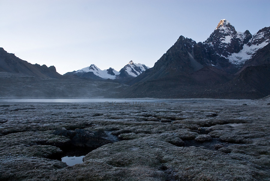"""At Azulcocha (""""blue lakes"""") campsite, surrounded by the Ausengate massif and other mountains."""