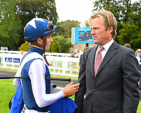 Jockey of Manuela De Vega Harry Bentley speaks to trainer Ralph Beckett in the winners enclosure after winning  The Bob McCreery Memorial EBF Quidhampton Maiden Fillies'  Stakes  during the Bathwick Tyres & EBF Race Day at Salisbury Racecourse on 6th September 2018
